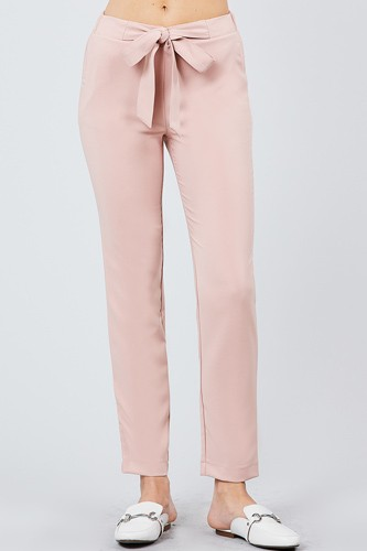 Front ribbon tied pegged long pants-id.cc39243d
