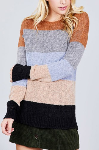 Long sleeve round neck color block sweater-id.cc39247