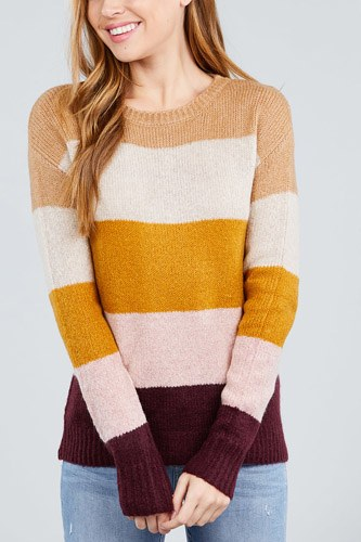 Long sleeve round neck color block sweater-id.cc39247b
