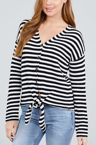 Long sleeve v-neck w/buttoned down front tie stripe cardigan-id.cc39248