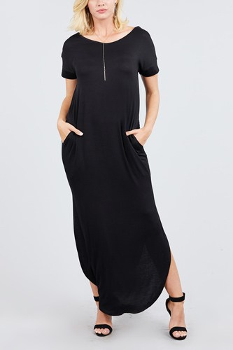 Short dolman sleeve double v-neck w/side pocket rayon spandex side slit maxi dress-id.cc39249