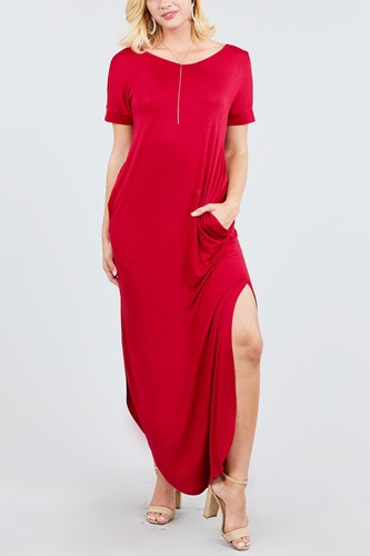 Short dolman sleeve double v-neck w/side pocket rayon spandex side slit maxi dress-id.cc39249a