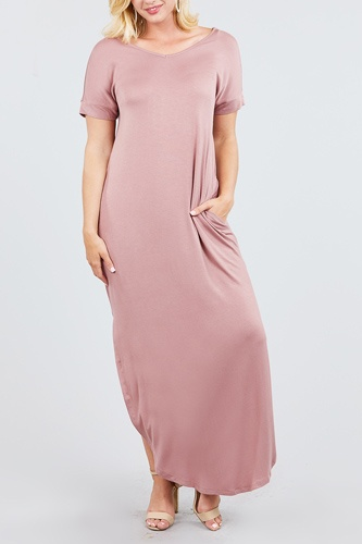 Short dolman sleeve double v-neck w/side pocket rayon spandex side slit maxi dress-id.cc39249b
