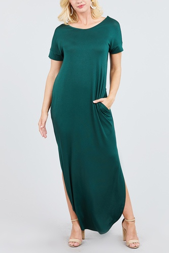 Short dolman sleeve double v-neck w/side pocket rayon spandex side slit maxi dress-id.cc39249d