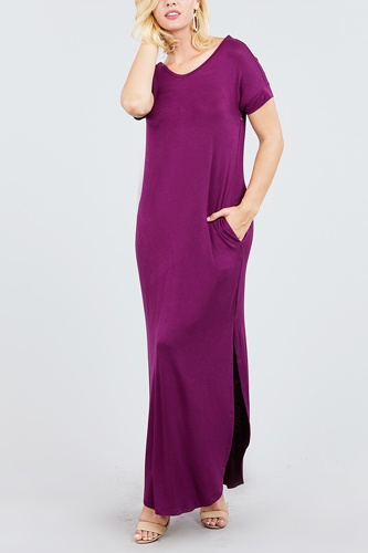 Short dolman sleeve double v-neck w/side pocket rayon spandex side slit maxi dress-id.cc39249e