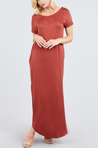 Short dolman sleeve double v-neck w/side pocket rayon spandex side slit maxi dress-id.cc39249f