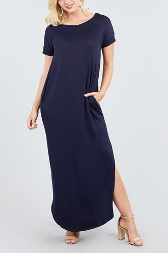 Short dolman sleeve double v-neck w/side pocket rayon spandex side slit maxi dress-id.cc39249g