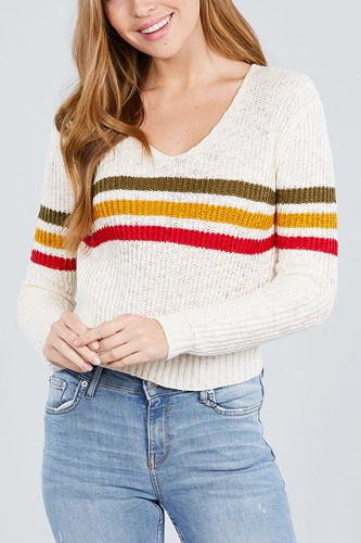 Long sleeve v-neck multi stripe crop sweater-id.cc39251a