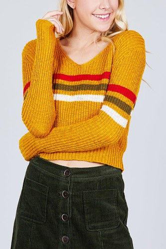 Long sleeve v-neck multi stripe crop sweater-id.cc39251b