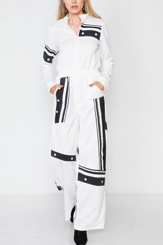 White knit color block zip-front long sleeve jumpsuit-id.cc39253