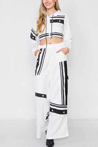 White knit color block crop sweater pant set -id.cc39254