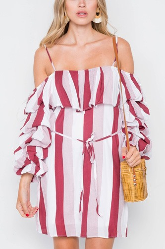 Puff-sleeve stripe cami boho dress-id.cc39258