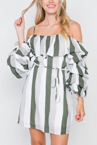 Puff-sleeve stripe cami boho dress-id.cc39258a
