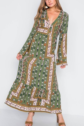 Multi olive v-neck long sleeve maxi boho dress-id.cc39261