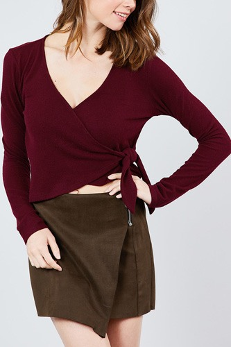 Long sleeve v-neck wrapped tie brushed hacci top-id.cc39263