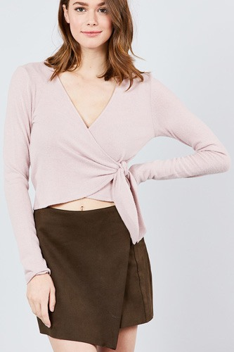 Long sleeve v-neck wrapped tie brushed hacci top-id.cc39263b