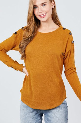Long sleeve round neck shoulder button detail brushed hacci top-id.cc39265a