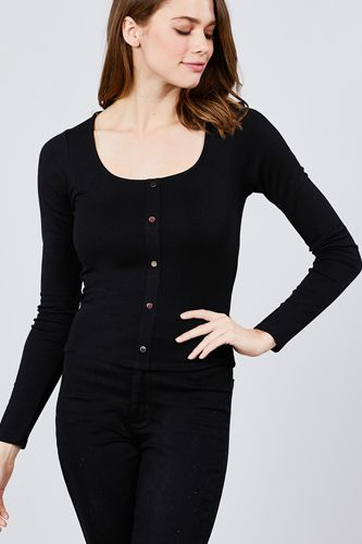 Long sleeve scoop neck front button detail rib knit top-id.cc39266