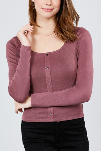 Long sleeve scoop neck front button detail rib knit top-id.cc39266a