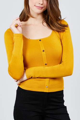 Long sleeve scoop neck front button detail rib knit top-id.cc39266b