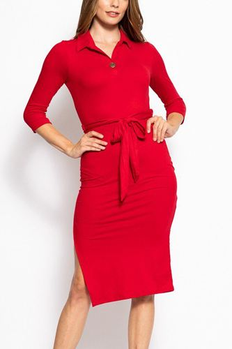 Solid, midi tee dress with 3/4 sleeves, collared v neckline, decorative button, matching belt and a side slit-id.cc39267
