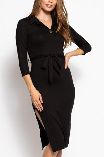 Solid, midi tee dress with 3/4 sleeves, collared v neckline, decorative button, matching belt and a side slit-id.cc39267a