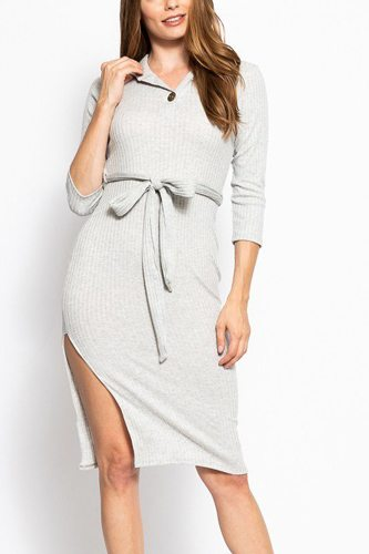 Solid, midi tee dress with 3/4 sleeves, collared v neckline, decorative button, matching belt and a side slit-id.cc39267b