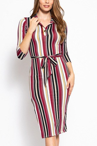 Stripes print, midi tee dress with 3/4 sleeves, collared v neckline, decorative button, matching belt and a side slit-id.cc39268