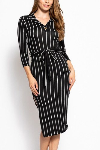 Stripes print, midi tee dress with 3/4 sleeves, collared v neckline, decorative button, matching belt and a side slit-id.cc39268a