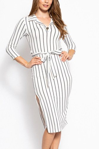 Stripes print, midi tee dress with 3/4 sleeves, collared v neckline, decorative button, matching belt and a side slit-id.cc39268b