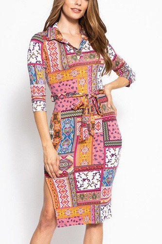 Print, midi tee dress with 3/4 sleeves, collared v neckline, decorative button, matching belt and a side slit.-id.cc39269