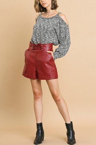 Vegan leather high waist shorts with pockets and lace up waist-id.cc39273