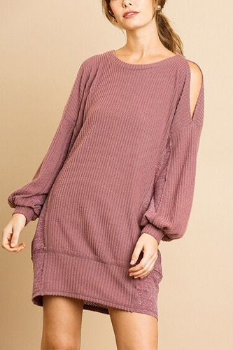 Long sleeve waffle knit open shoulder dress with heathered side panels-id.cc39274