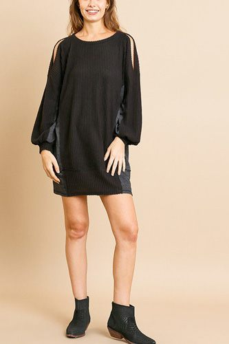 Long sleeve waffle knit open shoulder dress with heathered side panels-id.cc39274a