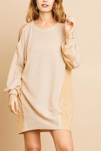 Long sleeve waffle knit open shoulder dress with heathered side panels-id.cc39274b