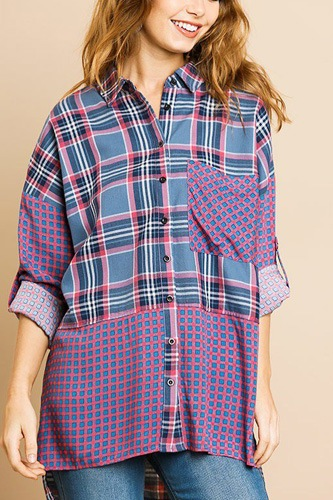 Plaid and checkered print long roll up sleeve button front collared top with chest pocket-id.cc39275