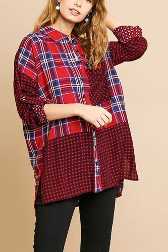 Plaid and checkered print long roll up sleeve button front collared top with chest pocket-id.cc39275a