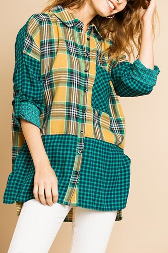 Plaid and checkered print long roll up sleeve button front collared top with chest pocket-id.cc39275b