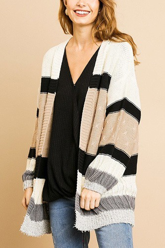 Multi color mixed fabric long sleeve open front cardigan sweater-id.cc39276