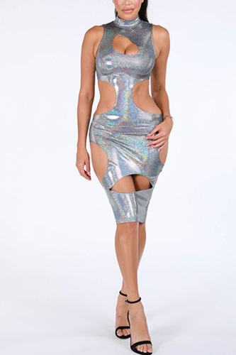 Cutout sexy maxi hologram dress.-id.cc39278
