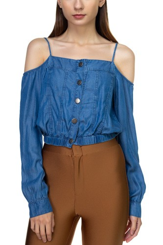Cold shoulder button down shirt-id.cc39283