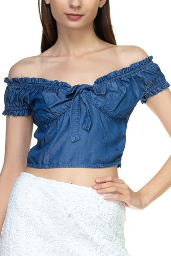 Front ribbon tie off shoulder crop top-id.cc39284