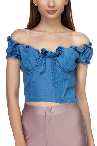 Front ribbon tie off shoulder crop top-id.cc39284b