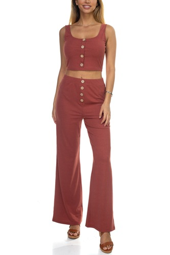 Ribbed button tank top & wide leg pants-id.cc39285a