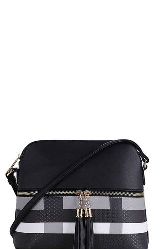 Chic modern color block tassel cross body bag-id.cc39287