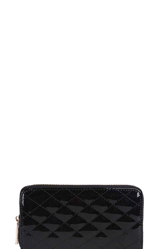 Fashion glossy stitched long wallet with hand strap-id.cc39289