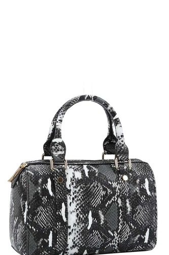 Trendy setter cute python pattern boston bag with long strap-id.cc39295