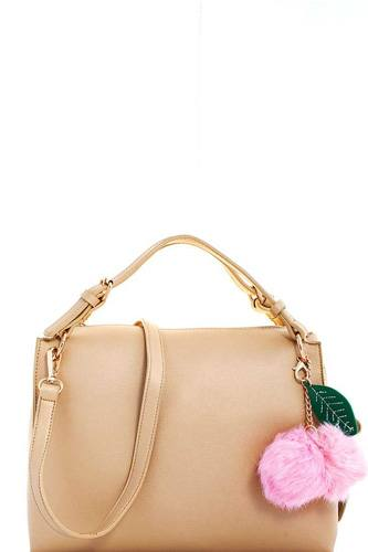 Cute fashion pompom charm satchel with long strap-id.cc39296