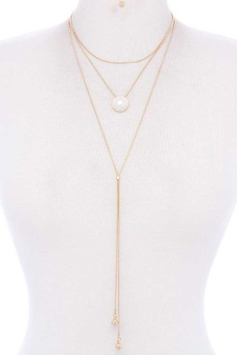Metal layered y shape necklace-id.cc39304