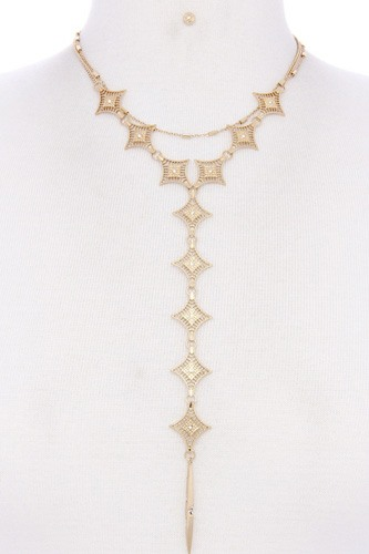 Metal y shape necklace-id.cc39305